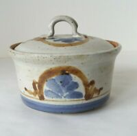 """Round Brown Blue Stoneware Pottery Dish Bowl with Lid 4"""" T x 5"""" D"""