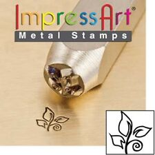 Metal stamp, punch, leaf swirl, 6mm