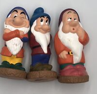 Disney Snow White Seven Dwarfs Grumpy Rubber Figure Bath Toy Lot Bashful Sleepy