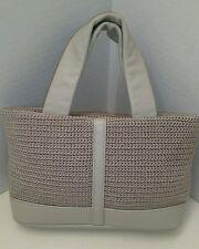 The Sak Gray Taupe Classic Crochet Knit Faux Leather Mini Handbag Purse