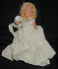 Old Bisque Nancy Ann Storybook Doll, Blonde Hair, White Dress, Faux Fur Hat