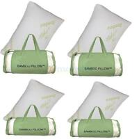 Hot Pack of 4 Comfort Bamboo Memory Foam Pillows Hypoallergenic Queen Size US