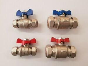 15MM & 22MM BUTTERFLY PLUMBING ISOLATION VALVES - VARIUOS QUANTITIES / OPTIONS