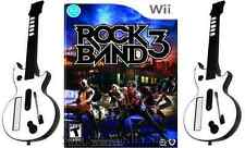 New! Wii & Wii U Rock Band 3 Bundle (Game + 2 Wireless Guitars)