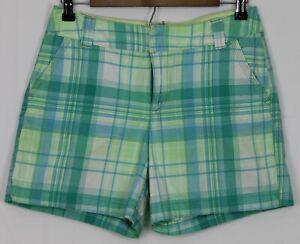 "ST. JOHN'S BAY Size 6 Women's Shorts Flat Front 5"" Inseam Blue & Green Plaid"