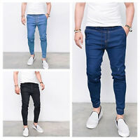 Men Elastic Waist Denim Slim Fit Jeans Casual Skinny Outdoor Work Trousers Pants