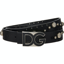 "DOLCE & GABBANA Studded Leather Belt with DG Logo - Black - W36""/ 90cm - £600"