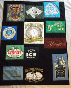 BEER themed t shirt quilt handcrafted patchwork 41 x 53 throw lap new