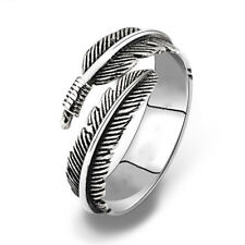 Simple Adjustable Retro Resizable Alloy Feathers Rings Silvery Women Men Gifts