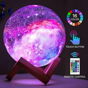16 Colors Galaxy Moon Lamp Light LED 3D Bedroom Night Light W/ Stand USB Remote
