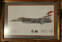 Vintage F-16C Fighting Falcon Ramstein Air Base USAF Signed Framed Picture