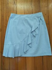 OXFORD 2018 Erica blue&white cotton lined Striped ruffle skirt 6 RRP $149 NWOT