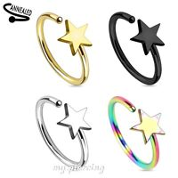 """2pcs  20g~5/16"""" Star Titanium IP 316L Surgical Steel Ears Tragus Nose Hoop Ring"""