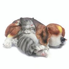 Resin Outdoor Animal Decoration Sleeping Lazy Cat Dog Garden Statue