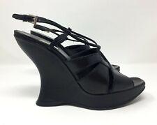 Prada Wedge Heel Platform Leather Sandal/Shoe Black - EU size 40.5