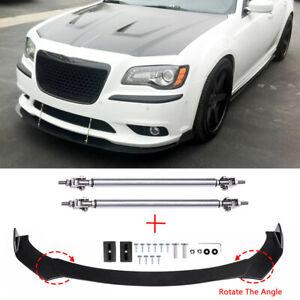 For Chrysler 300 SRT8 C S Front Bumper Lip Splitter Spoiler Chin + Strut Rods A+