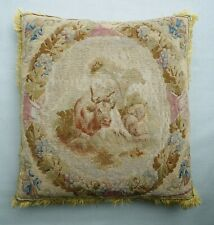 More details for antique 18th century french aubusson tapestry cushion /pillow. pastoral subject