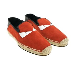 Fendi Espadrilles Monster Bug Eye Red Suede Leather Shoes Size 13 New $650