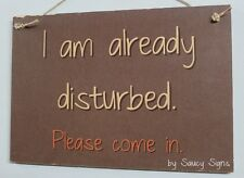 Welcome Disturbed Please Come In Shabby Rustic Chic Student Office Door Bar Sign