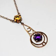 Edwardian Amethyst & Citrine 9ct Gold Negligee Necklace Pendant