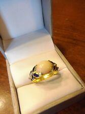 18k Yellow Gold Antique Angel Skin Pink White Coral Blue Enamel Ring  (478)