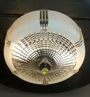 Vtg Art Deco Frosted Clear Glass Shade Ceiling Light Fixture Chandelier