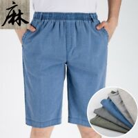 Mens Gentle Linen Cotton Cargo Golf Shorts Casual Half Trousers Pants Loose Soft
