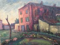 Belle Peinture Paysage Maison immeuble 1950 Huile Sur Panneau Hsp Signé Onde