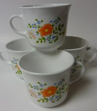 Set of 4 Corelle Wild Flower Cups with Orange Flower Pattern - Great Condition