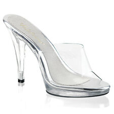 PLEASER Fabulicious Flair-401 Clear Platform Mules Sandals UK 6 /EU 39 IN STOCK