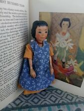 Beautiful carved wood Hitty doll in vintage style 6.5(16.5cm)