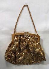 Whiting & Davis Evening Purse Handbag Gold Mesh With Chain #2856 Clean!