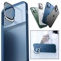 For iPhone 12 Pro 11 Pro Max Shockproof Plating Matte Clear TPU Case Stand Cover