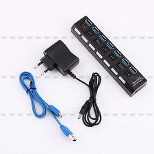 USB 3.0 Hub avec interrupteur+Adaptateur secteur UE pour PC portable  7 ports