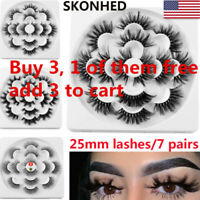 SKONHED 7 Pairs 6D Mink Hair False Eyelashes 25mm Lashes Thick Wispy Fluffy US