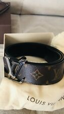 "LOUIS VUITTON Men's ""Initiales"" Reversible Monogram/Black Leather 90-36 Belt."