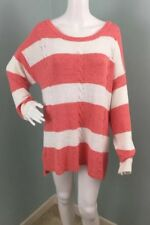NWT Womens Two by Vince Camuto White/Coral Striped Sweater Sz XL Extra Large