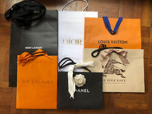 Designer shopping bag large lot of 7 paper with handles