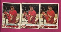 3 X 1977-78 OPC # 265 RED WINGS RICK BOWNESS  ROOKIE CARD (INV# A708)