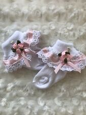 White Frill Baby Socks with Ribbon Guipure Pearl Rosebud Trim size 0-3 Months