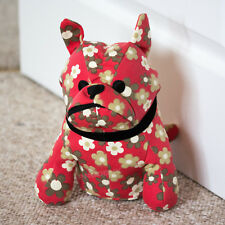 Novelty Dog Door Stop Red Floral Fabric Weighted Stopper Animal Wedge Home Decor