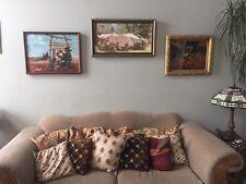 Vtg Original Impressionist Abastract Market Painting Bazaar Mid Century Modern