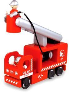 Vilac Kinder Feuerwehr Auto Truck LKW Löschfahrzeug Leiterwagen Holz - 2322