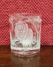 Whisky Glass Round Wildlife Engraved Lion