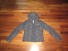 Hollister Down Jacket Winter Coat Size L Fitted Navy Blue Quilted Puffer
