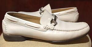 Salvatore Ferragamo Linfa mens Loafers shoes 10EE Gancini Deer Cream Off White