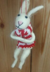 ARCTIC HARE snow bunny RABBIT wool CHRISTMAS TREE DECORATION white felt NEW