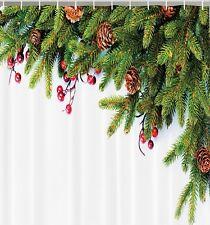 Christmas Tree Pine Cones Needles Holly Fabric SHOWER CURTAIN Holiday Bath Decor