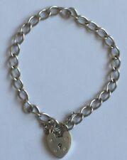 "Solid 925 Sterling Silver Single Linked Bracelet,Locket & Safety Chain 8.7g 7"""