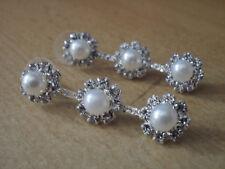 Damen Ohrringe Ohrstecker Blumen Perlen Strass Fb Silber Wedding Hochzeit 1773